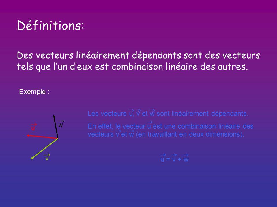Définitions: Des vecteurs linéairement dépendants sont des vecteurs
