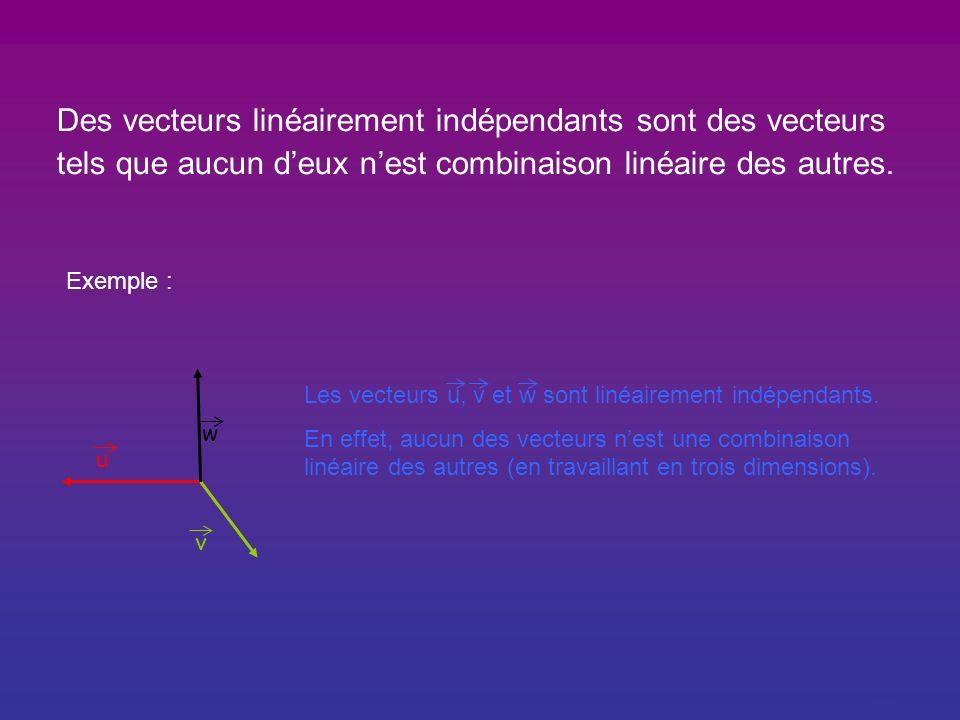 Des vecteurs linéairement indépendants sont des vecteurs