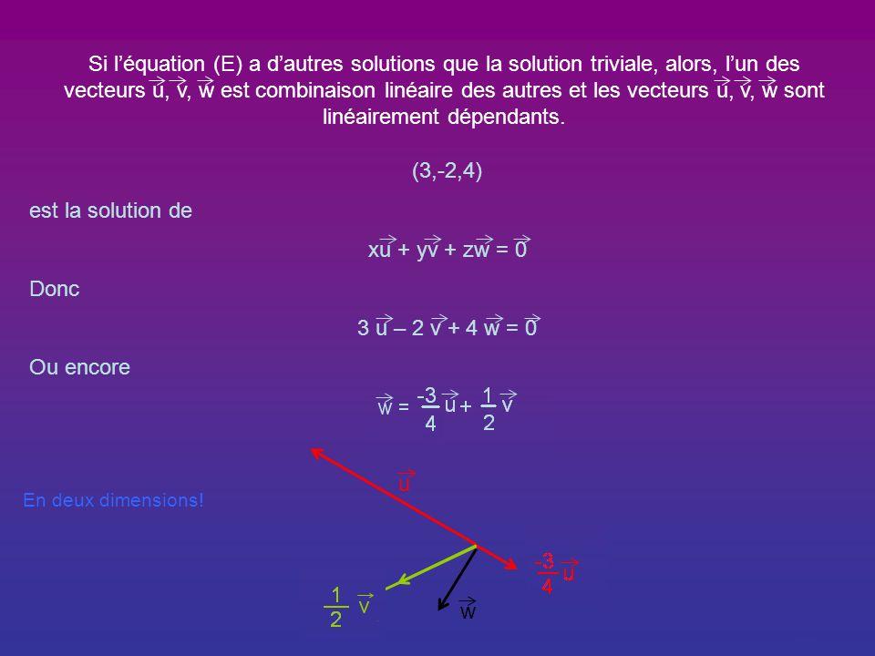Si l'équation (E) a d'autres solutions que la solution triviale, alors, l'un des vecteurs u, v, w est combinaison linéaire des autres et les vecteurs u, v, w sont linéairement dépendants.