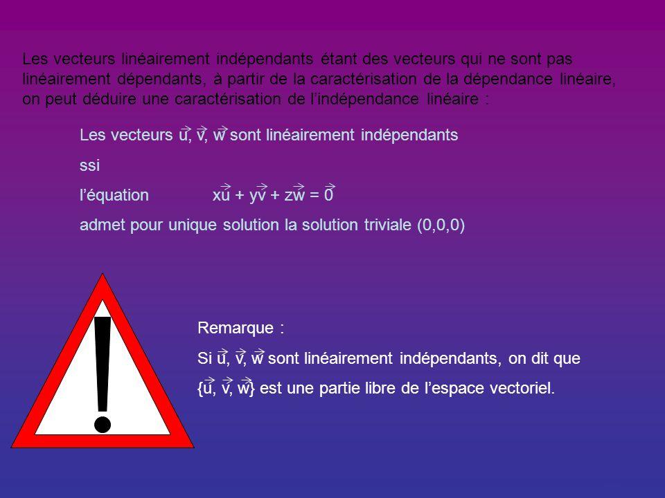 Les vecteurs linéairement indépendants étant des vecteurs qui ne sont pas linéairement dépendants, à partir de la caractérisation de la dépendance linéaire, on peut déduire une caractérisation de l'indépendance linéaire :