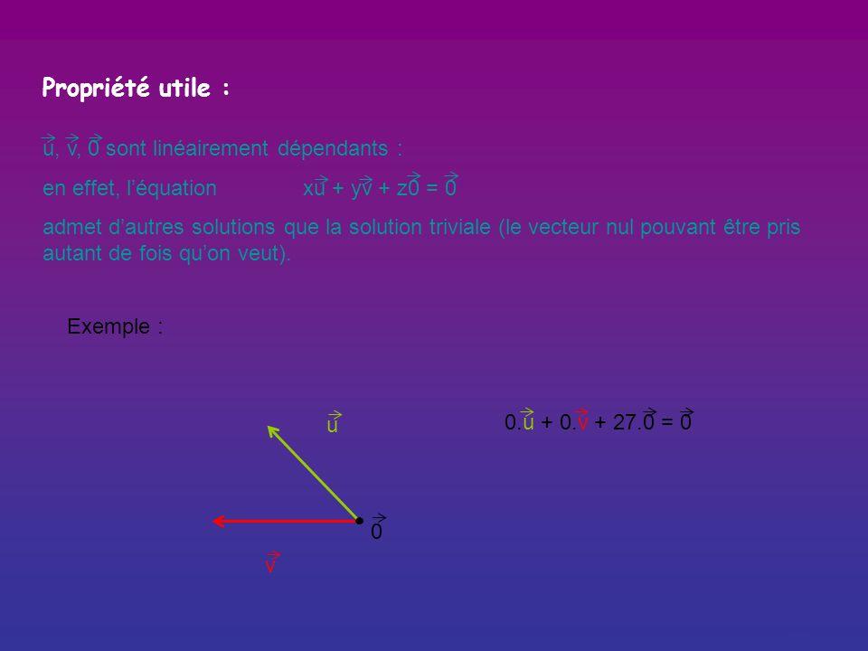 Propriété utile : u, v, 0 sont linéairement dépendants :