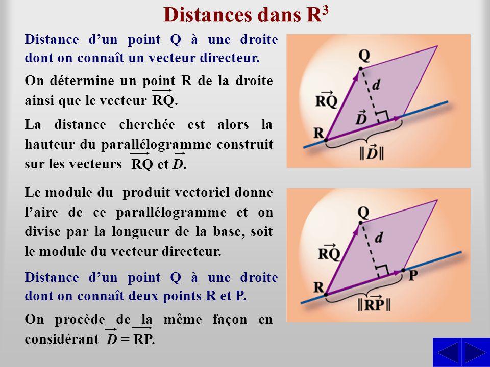 Distances dans R3 Distance d'un point Q à une droite dont on connaît un vecteur directeur. On détermine un point R de la droite ainsi que le vecteur.