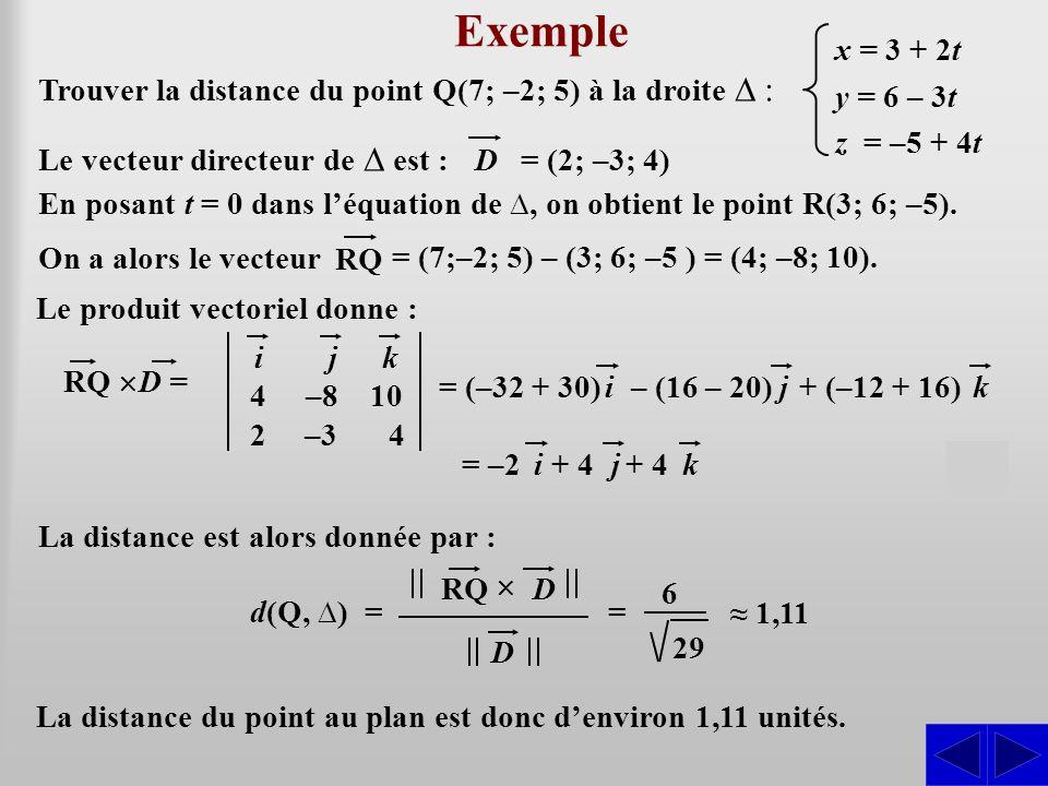 Exemple S S Trouver la distance du point Q(7; –2; 5) à la droite ∆ :