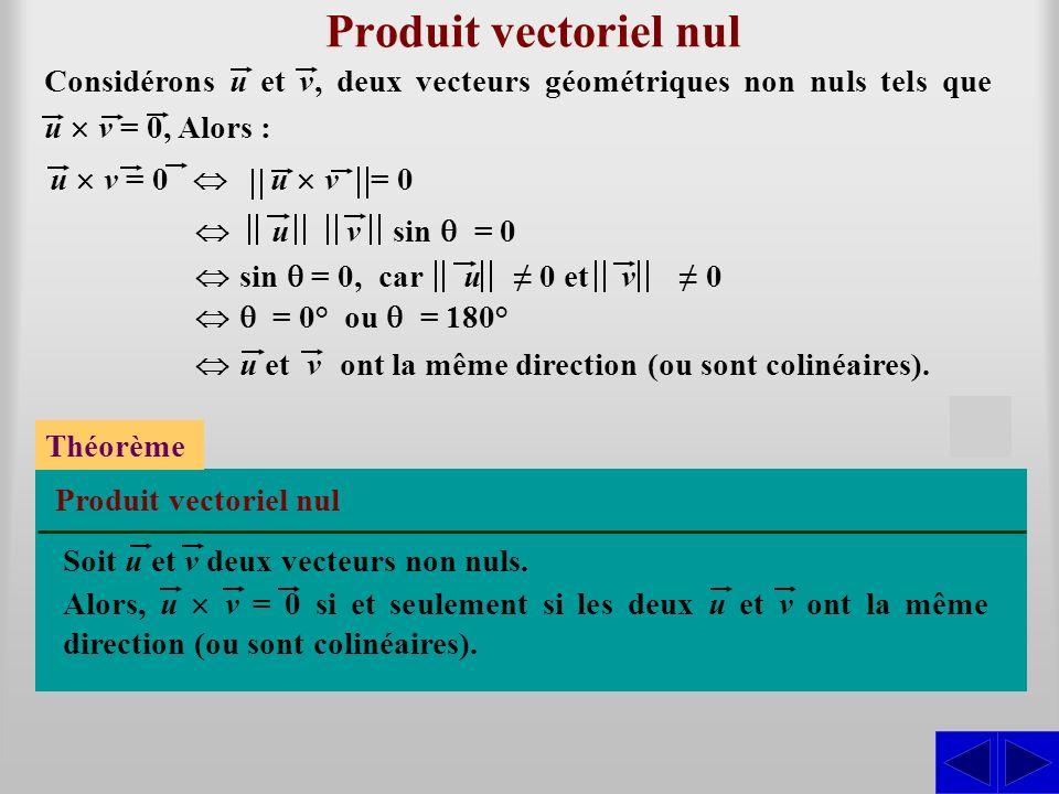 Produit vectoriel nul S
