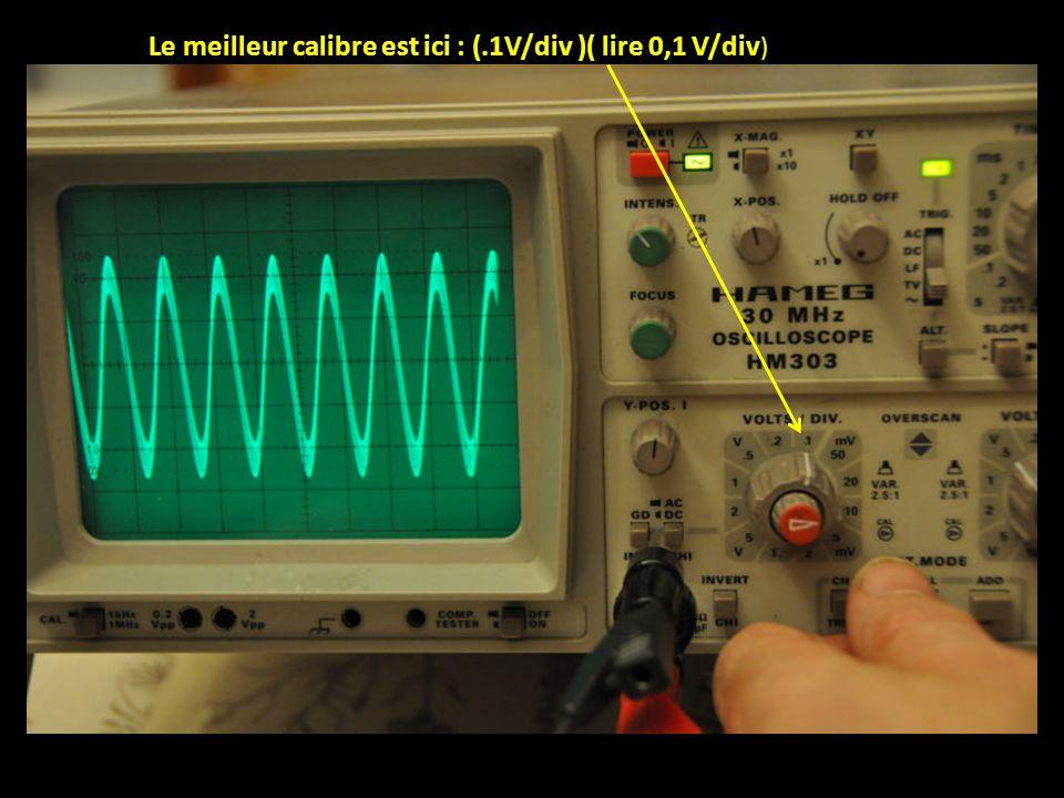 Le meilleur calibre est ici : (.1V/div )( lire 0,1 V/div)