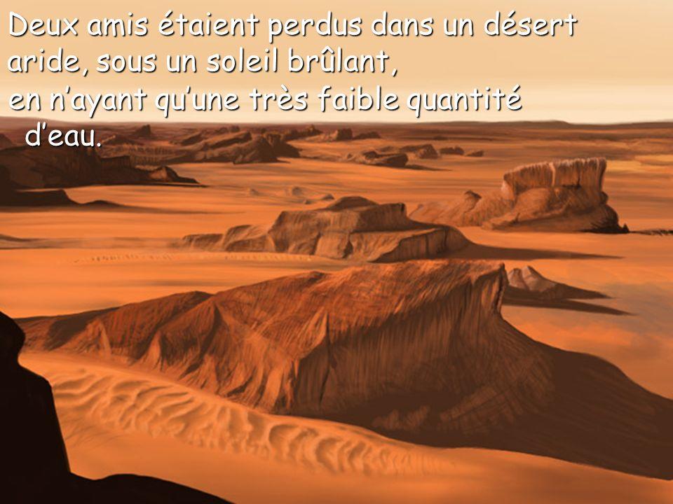 Deux amis étaient perdus dans un désert aride, sous un soleil brûlant,