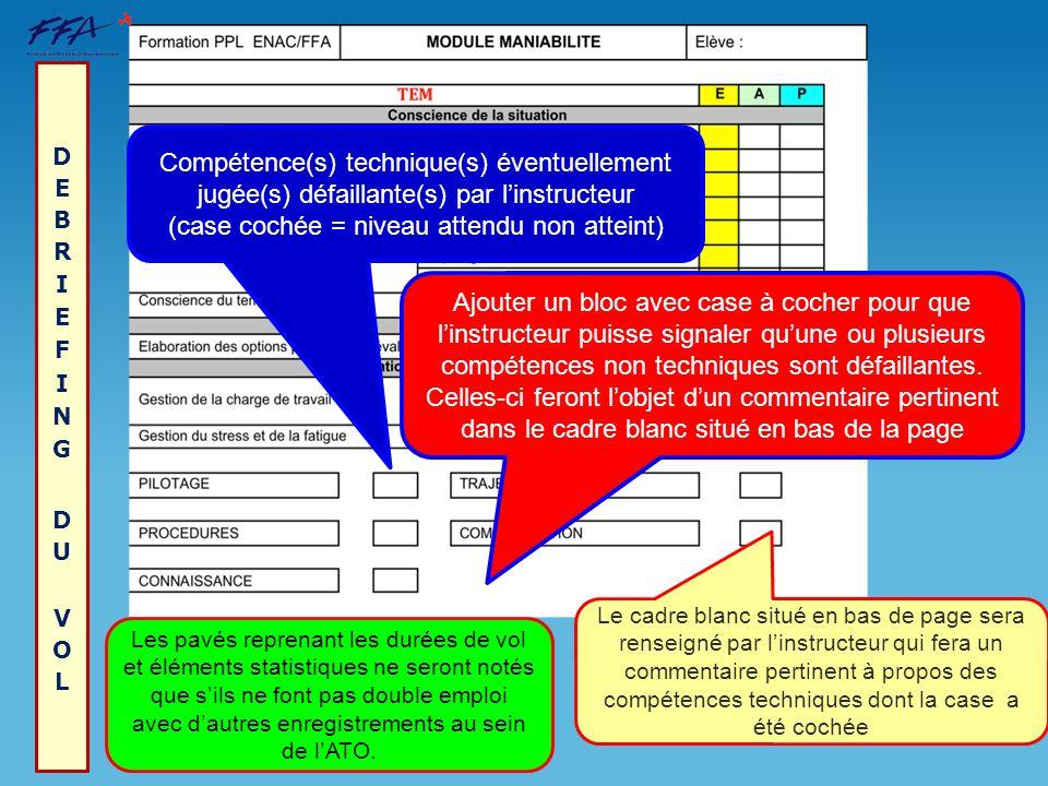 DEBRIEFING DU VOL Compétence(s) technique(s) éventuellement jugée(s) défaillante(s) par l'instructeur (case cochée = niveau attendu non atteint)