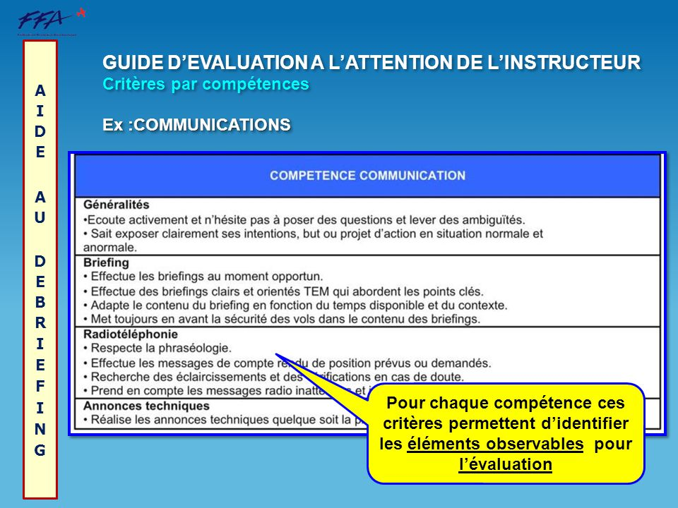 GUIDE D'EVALUATION A L'ATTENTION DE L'INSTRUCTEUR