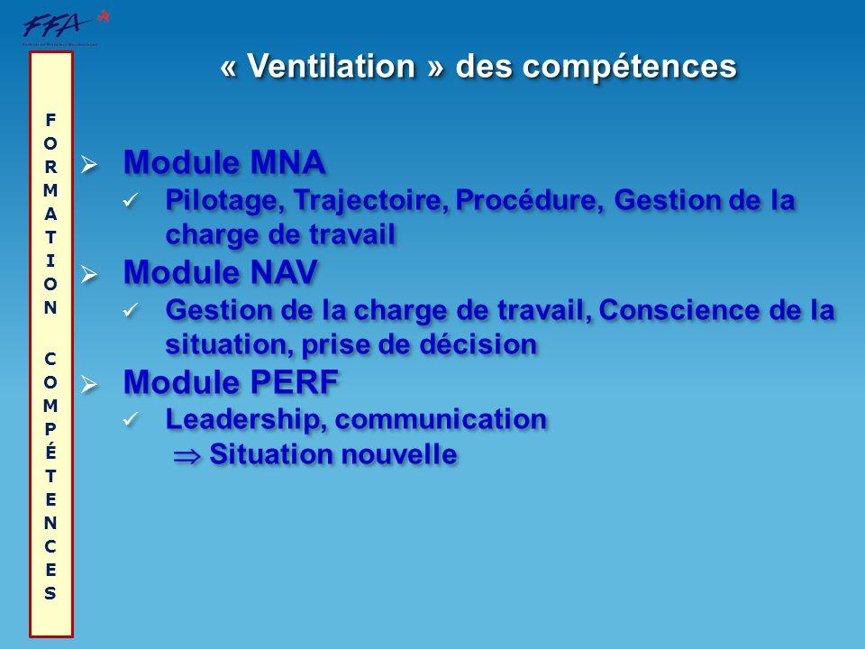 « Ventilation » des compétences FORMATION COMPÉTENCES