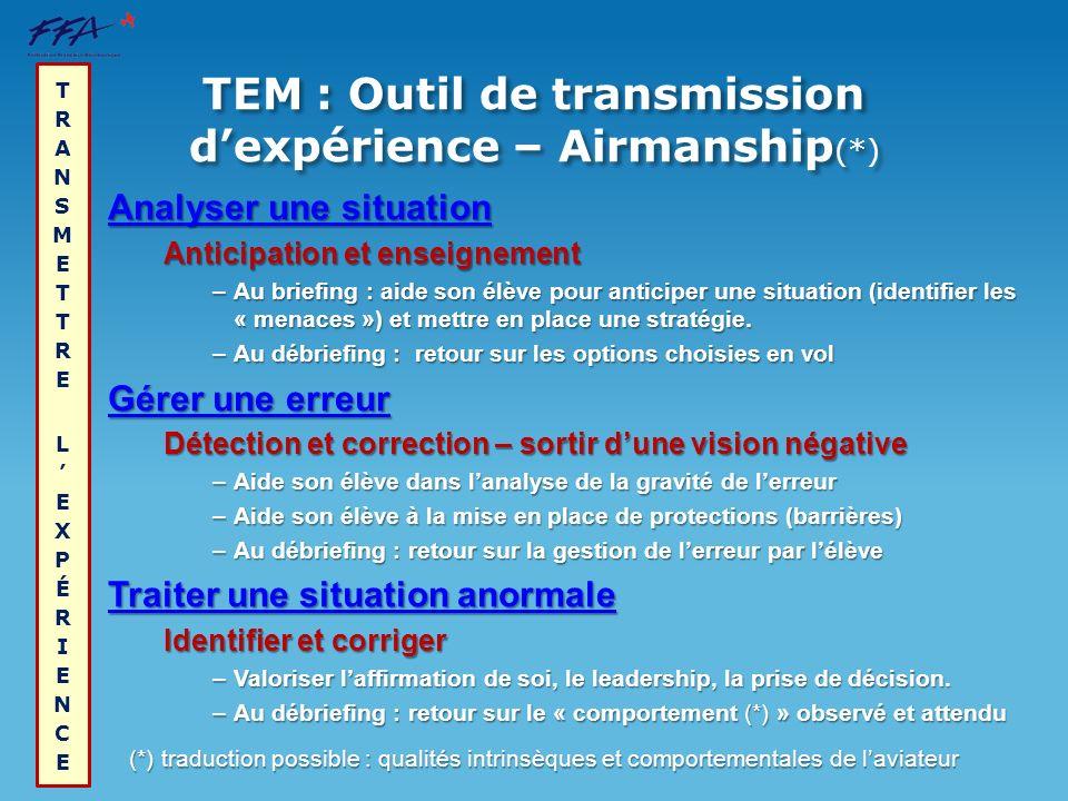 TEM : Outil de transmission d'expérience – Airmanship(*)