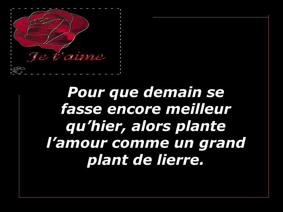 Pour que demain se fasse encore meilleur qu'hier, alors plante l'amour comme un grand plant de lierre.