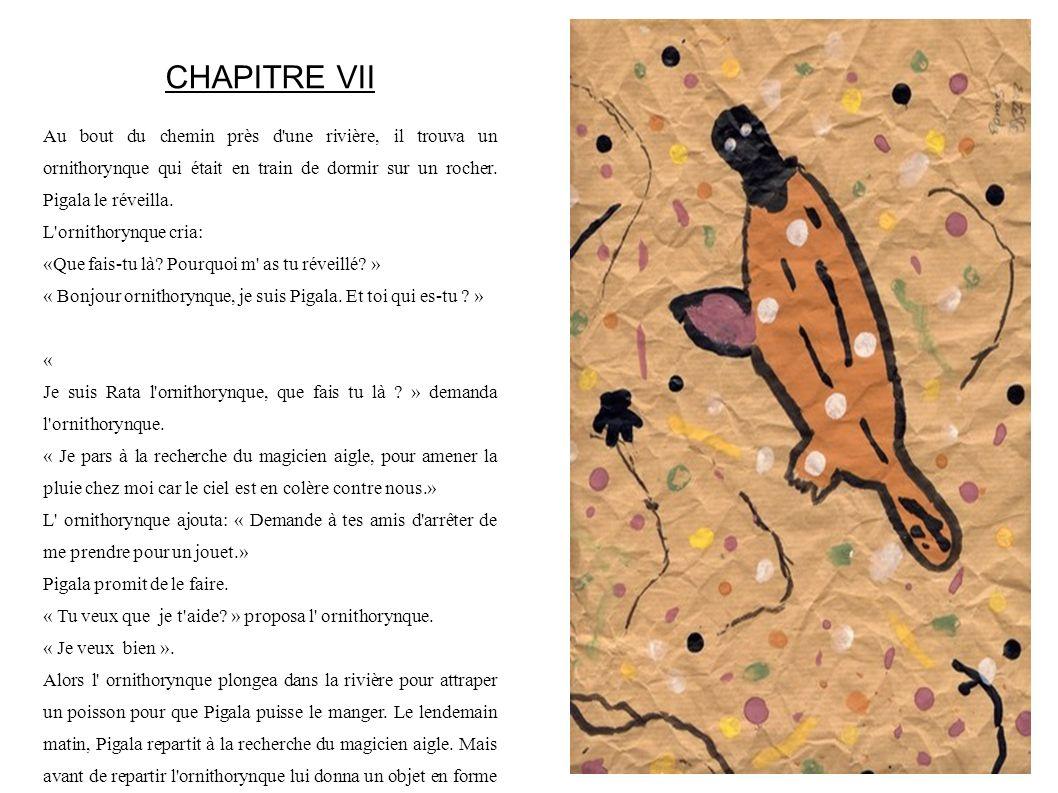 CHAPITRE VII Au bout du chemin près d une rivière, il trouva un ornithorynque qui était en train de dormir sur un rocher. Pigala le réveilla.