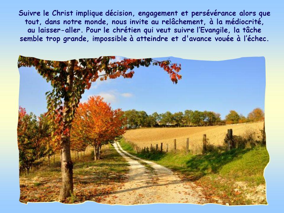 Suivre le Christ implique décision, engagement et persévérance alors que tout, dans notre monde, nous invite au relâchement, à la médiocrité, au laisser-aller.