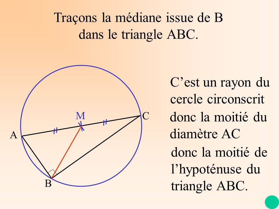 Traçons la médiane issue de B dans le triangle ABC.