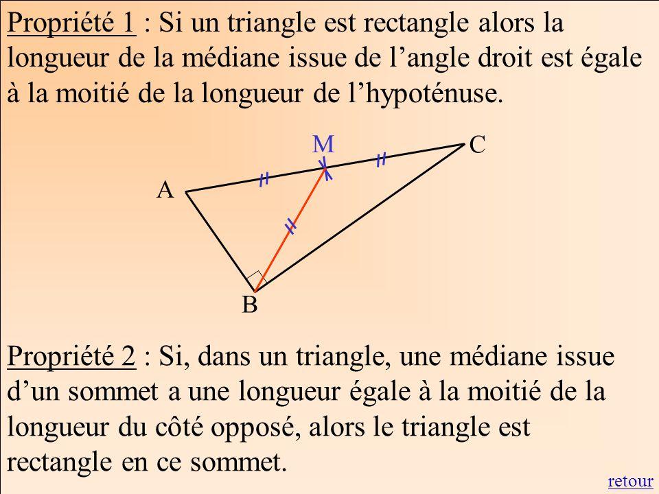 Propriété 1 : Si un triangle est rectangle alors la longueur de la médiane issue de l'angle droit est égale à la moitié de la longueur de l'hypoténuse.