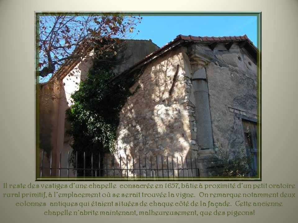 Il reste des vestiges d'une chapelle consacrée en 1657, bâtie à proximité d'un petit oratoire rural primitif, à l'emplacement où se serait trouvée la vigne.