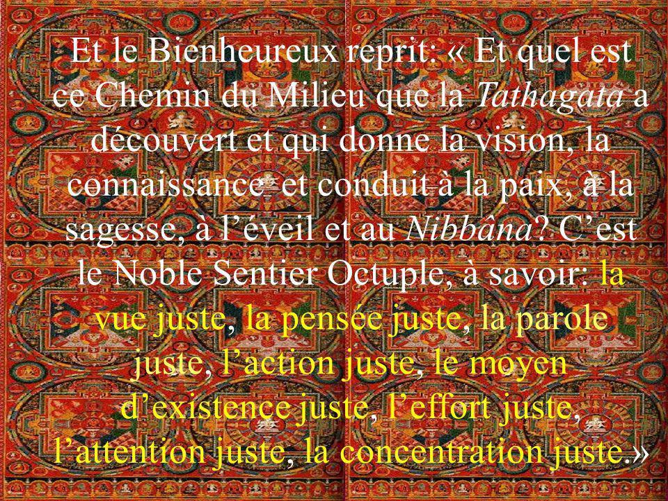 Et le Bienheureux reprit: « Et quel est ce Chemin du Milieu que la Tathagata a découvert et qui donne la vision, la connaissance et conduit à la paix, à la sagesse, à l'éveil et au Nibbâna.