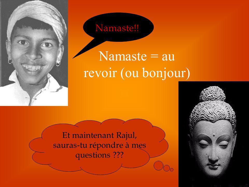 Namaste = au revoir (ou bonjour)