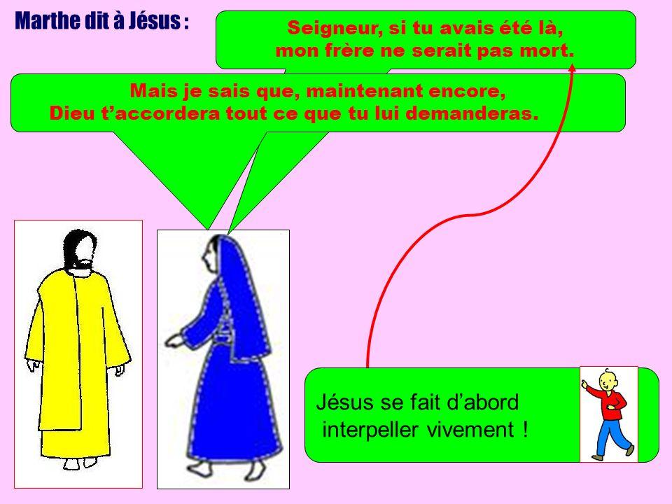 Marthe dit à Jésus : Jésus se fait d'abord interpeller vivement !