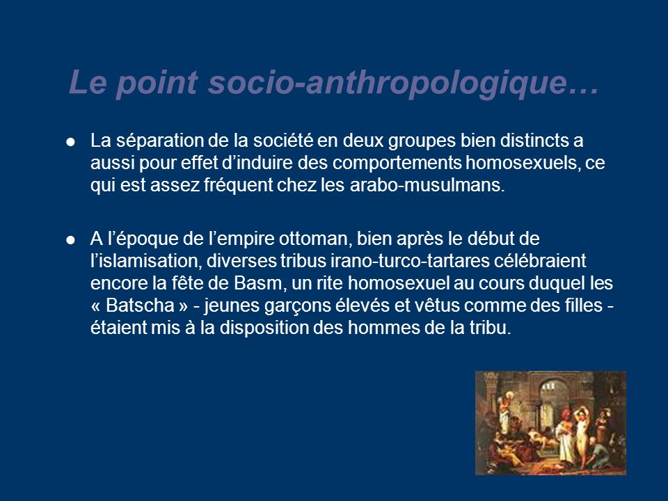 Le point socio-anthropologique…