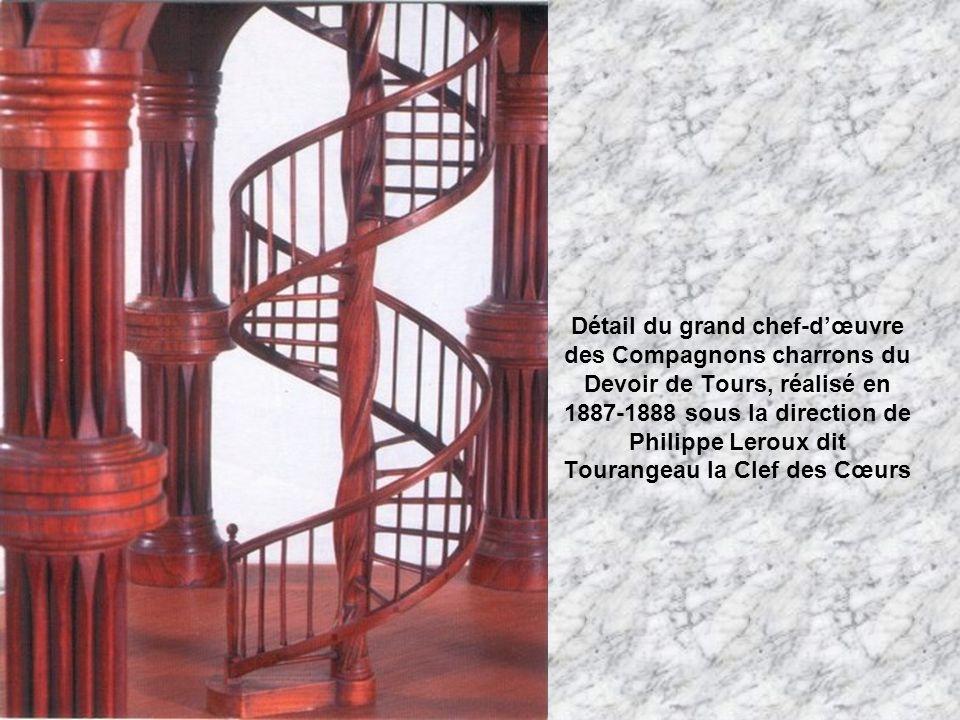 Détail du grand chef-d'œuvre des Compagnons charrons du Devoir de Tours, réalisé en 1887-1888 sous la direction de Philippe Leroux dit Tourangeau la Clef des Cœurs