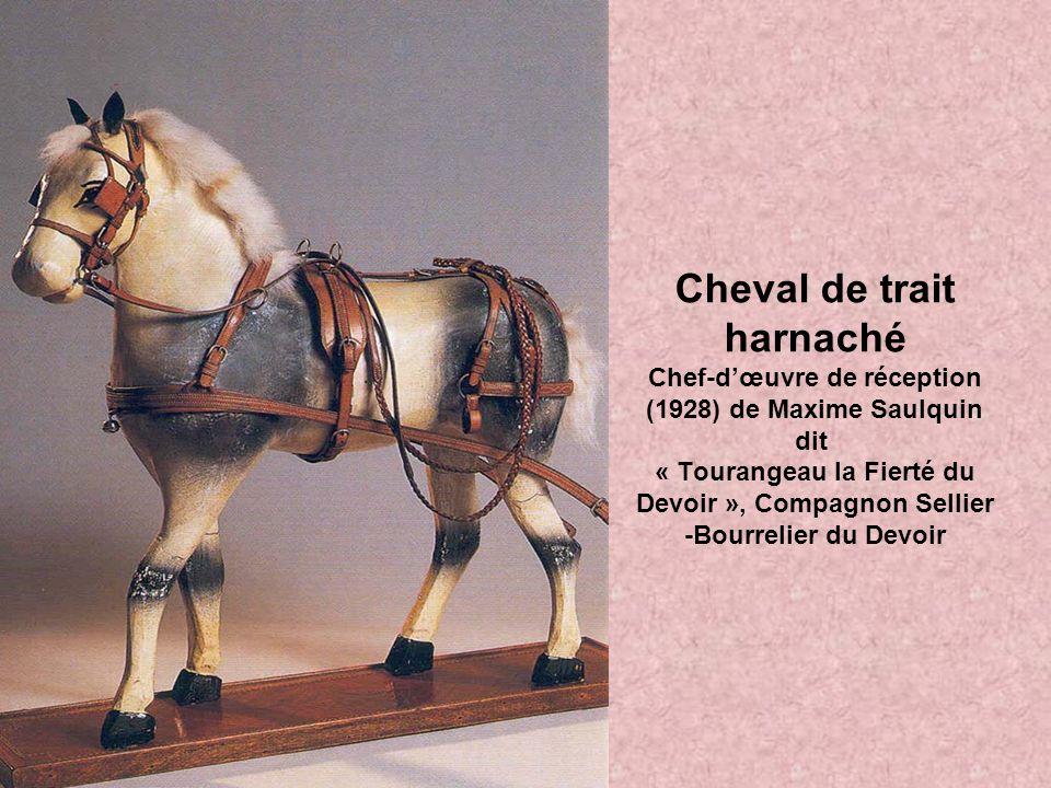 Cheval de trait harnaché Chef-d'œuvre de réception (1928) de Maxime Saulquin dit « Tourangeau la Fierté du Devoir », Compagnon Sellier -Bourrelier du Devoir