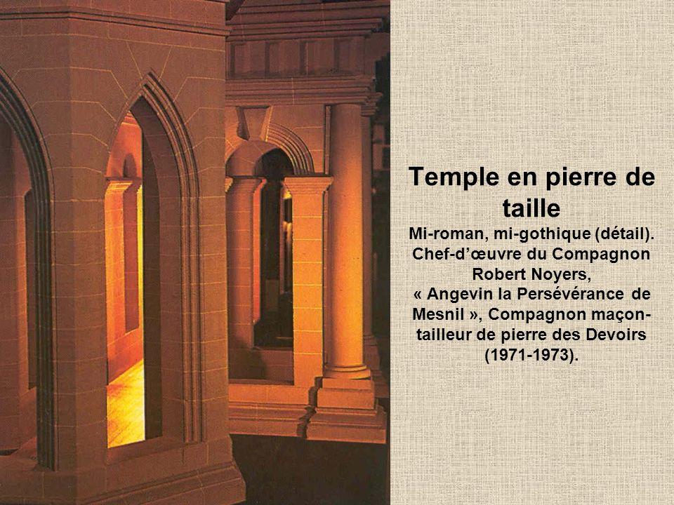 Temple en pierre de taille Mi-roman, mi-gothique (détail)