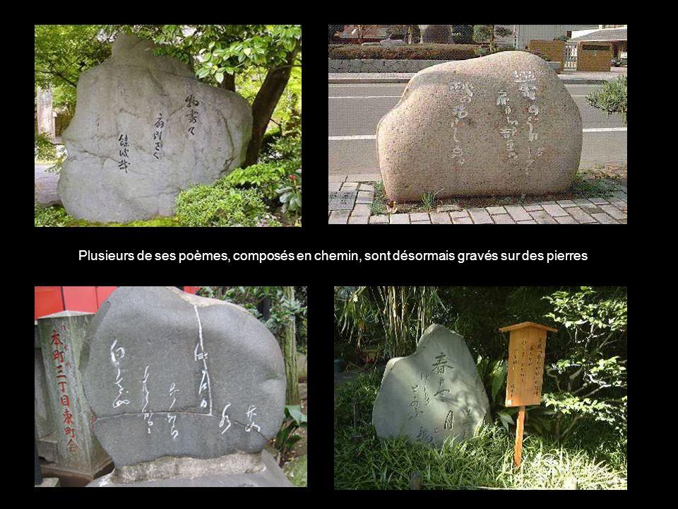 Plusieurs de ses poèmes, composés en chemin, sont désormais gravés sur des pierres