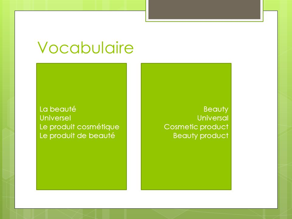 Vocabulaire La beauté. Universel Le produit cosmétique Le produit de beauté. Beauty. Universal. Cosmetic product.
