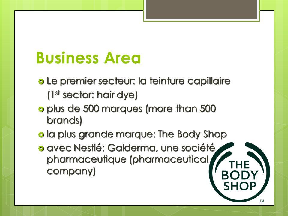 Business Area Le premier secteur: la teinture capillaire