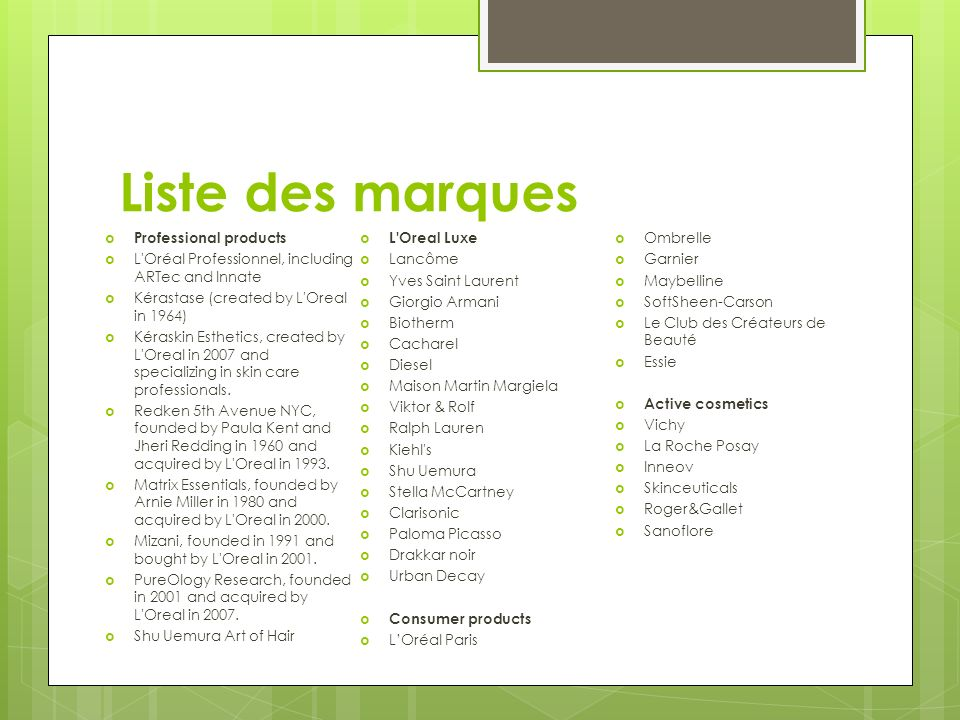 Liste des marques Professional products L Oreal Luxe Ombrelle