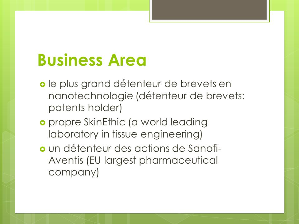 Business Area le plus grand détenteur de brevets en nanotechnologie (détenteur de brevets: patents holder)