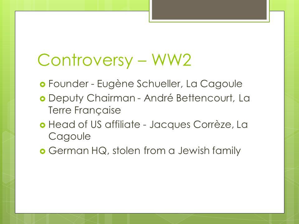 Controversy – WW2 Founder - Eugène Schueller, La Cagoule