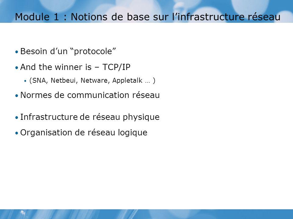 Module 1 : Notions de base sur l'infrastructure réseau