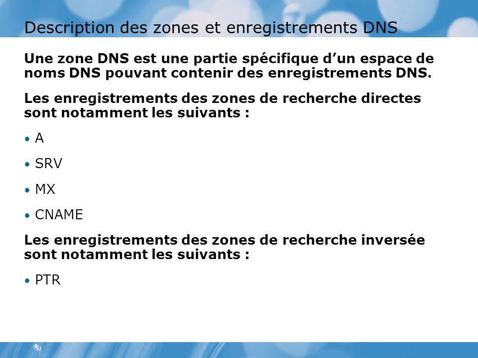 Description des zones et enregistrements DNS