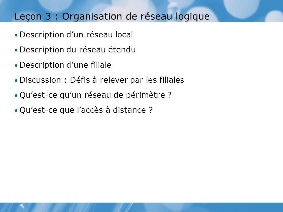 Leçon 3 : Organisation de réseau logique