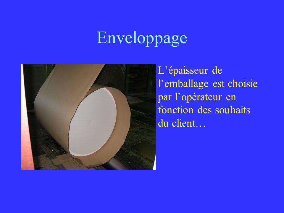 Enveloppage L'épaisseur de l'emballage est choisie par l'opérateur en fonction des souhaits du client…