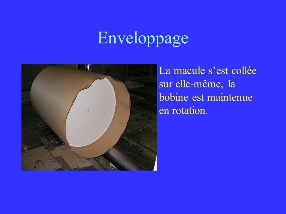 Enveloppage La macule s'est collée sur elle-même, la bobine est maintenue en rotation.