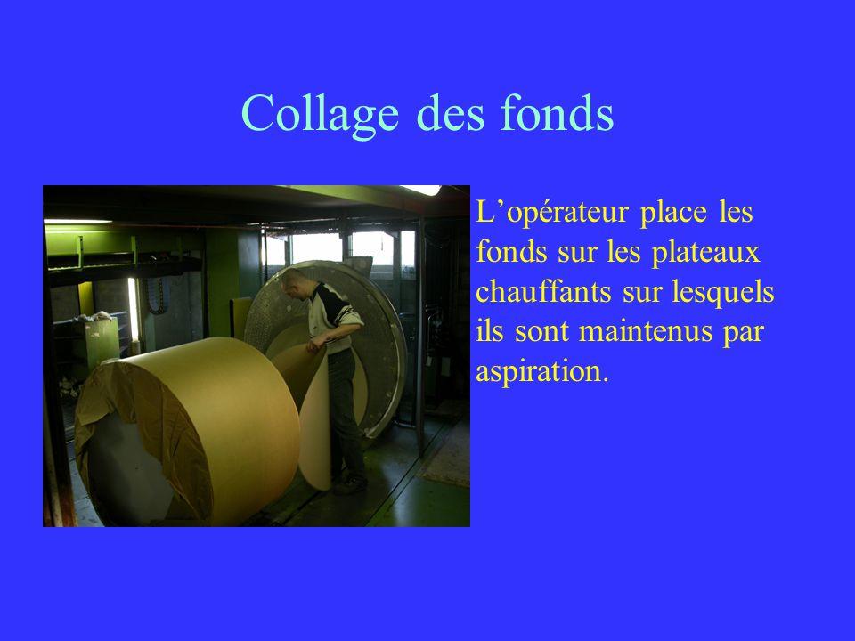 Collage des fonds L'opérateur place les fonds sur les plateaux chauffants sur lesquels ils sont maintenus par aspiration.