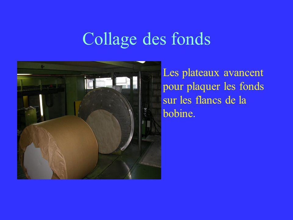 Collage des fonds Les plateaux avancent pour plaquer les fonds sur les flancs de la bobine.