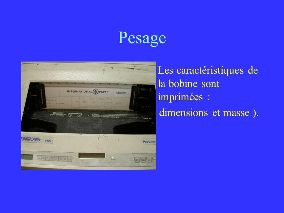 Pesage Les caractéristiques de la bobine sont imprimées :