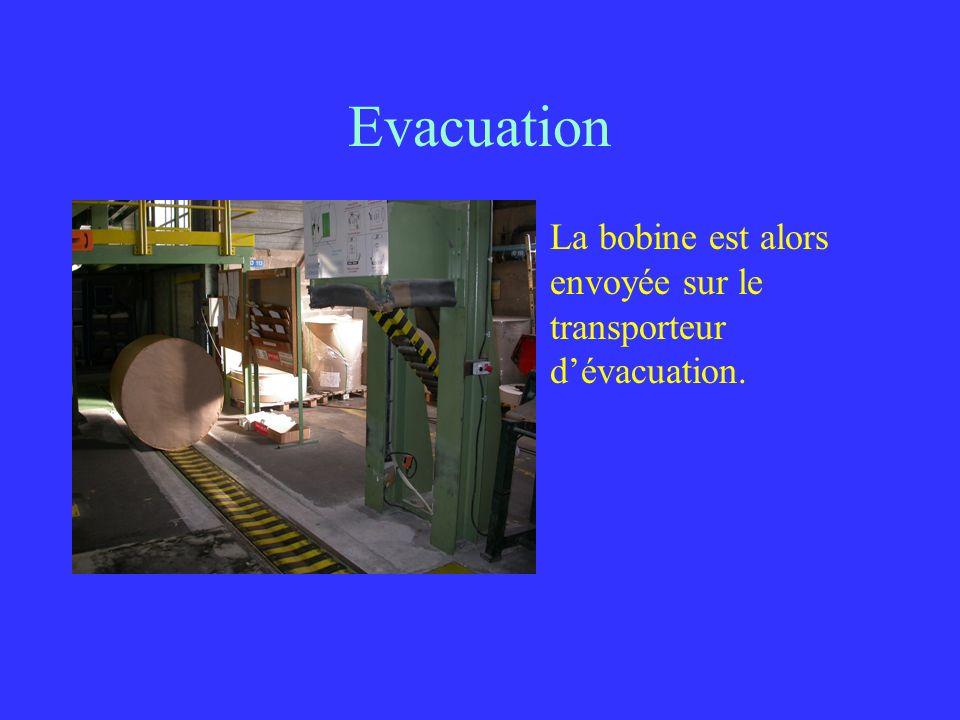 Evacuation La bobine est alors envoyée sur le transporteur d'évacuation.