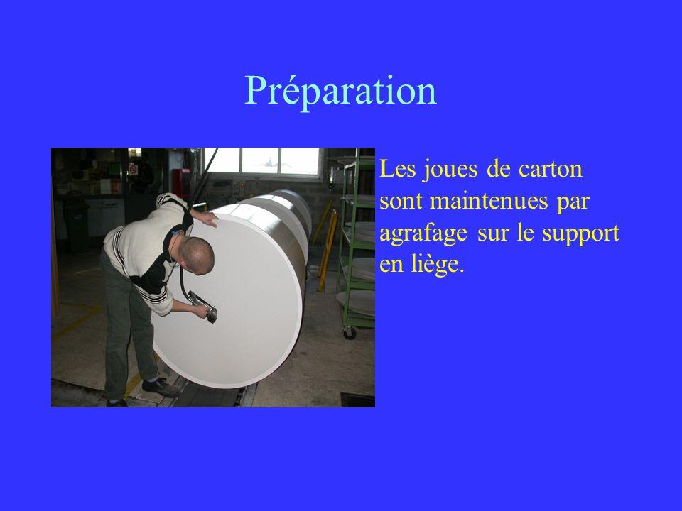 Préparation Les joues de carton sont maintenues par agrafage sur le support en liège.