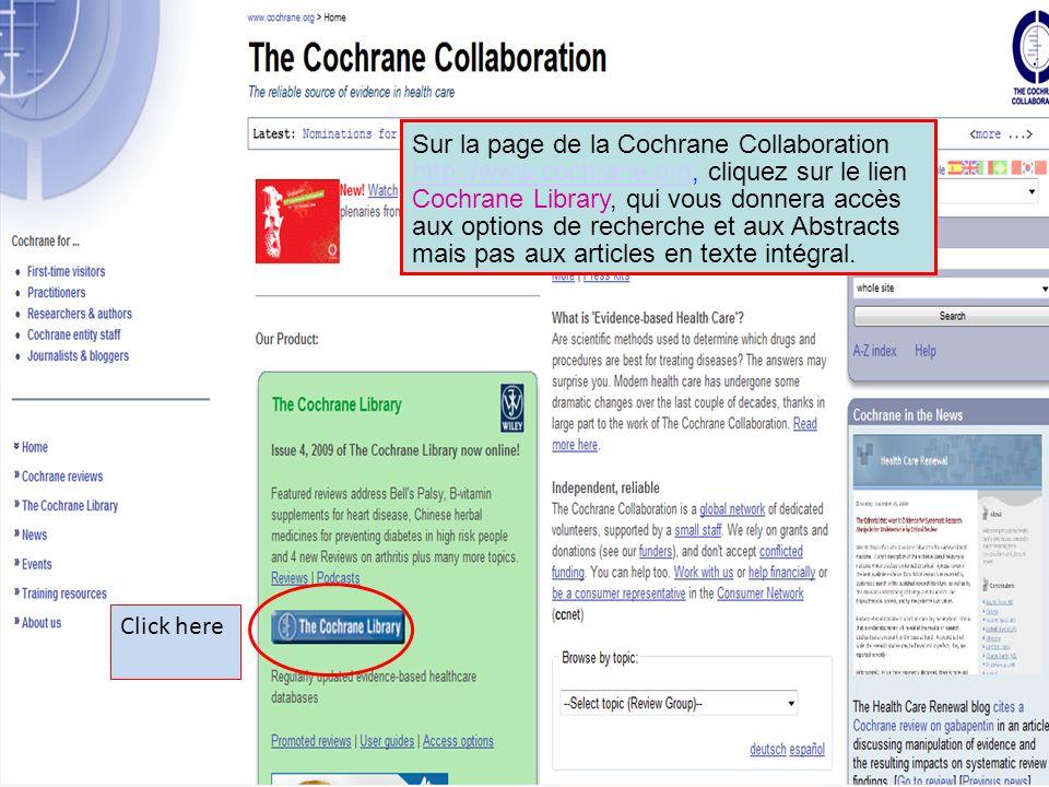 Sur la page de la Cochrane Collaboration http://www. cochrane