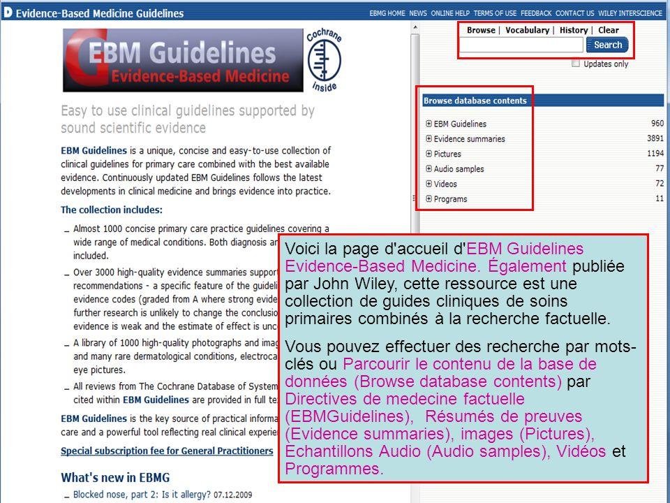 Voici la page d accueil d EBM Guidelines Evidence-Based Medicine