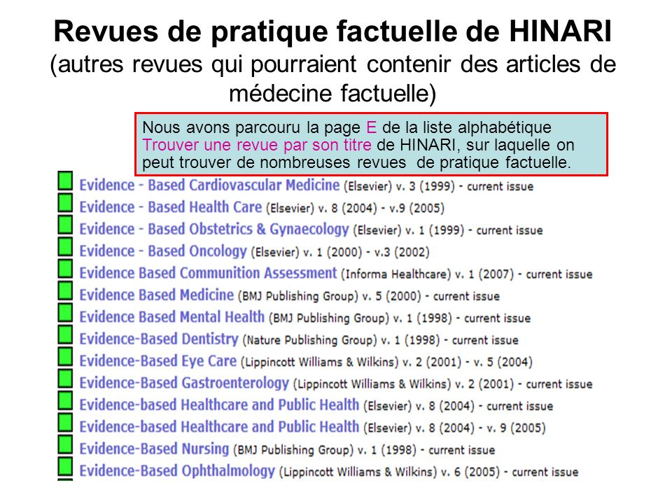 Revues de pratique factuelle de HINARI