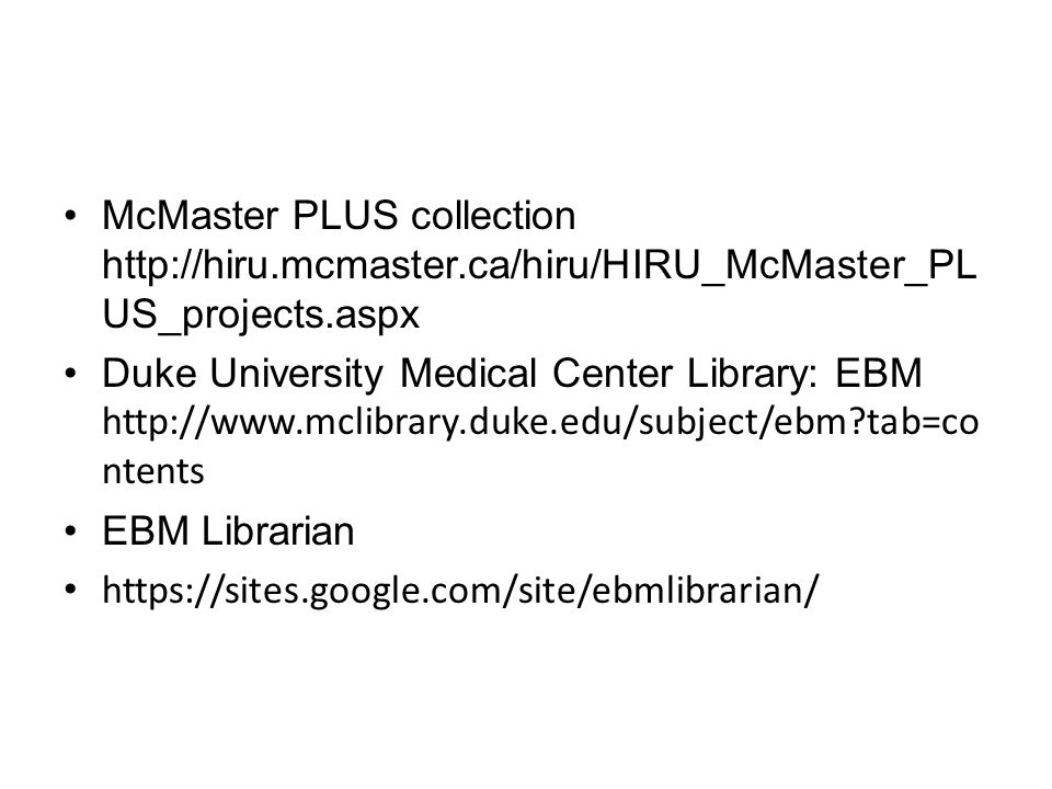 McMaster PLUS collection http://hiru. mcmaster