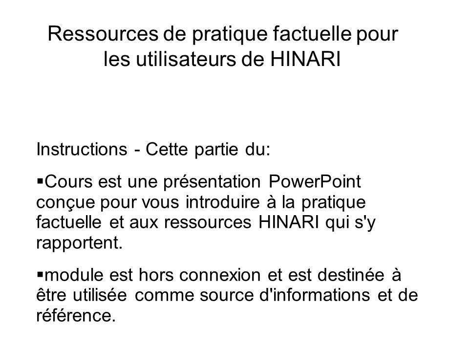 Ressources de pratique factuelle pour les utilisateurs de HINARI