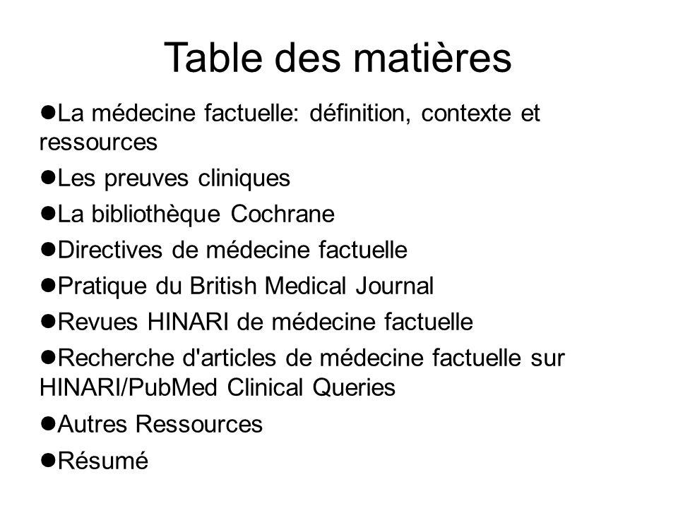 Table des matières La médecine factuelle: définition, contexte et ressources. Les preuves cliniques.