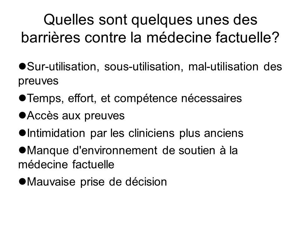 Quelles sont quelques unes des barrières contre la médecine factuelle